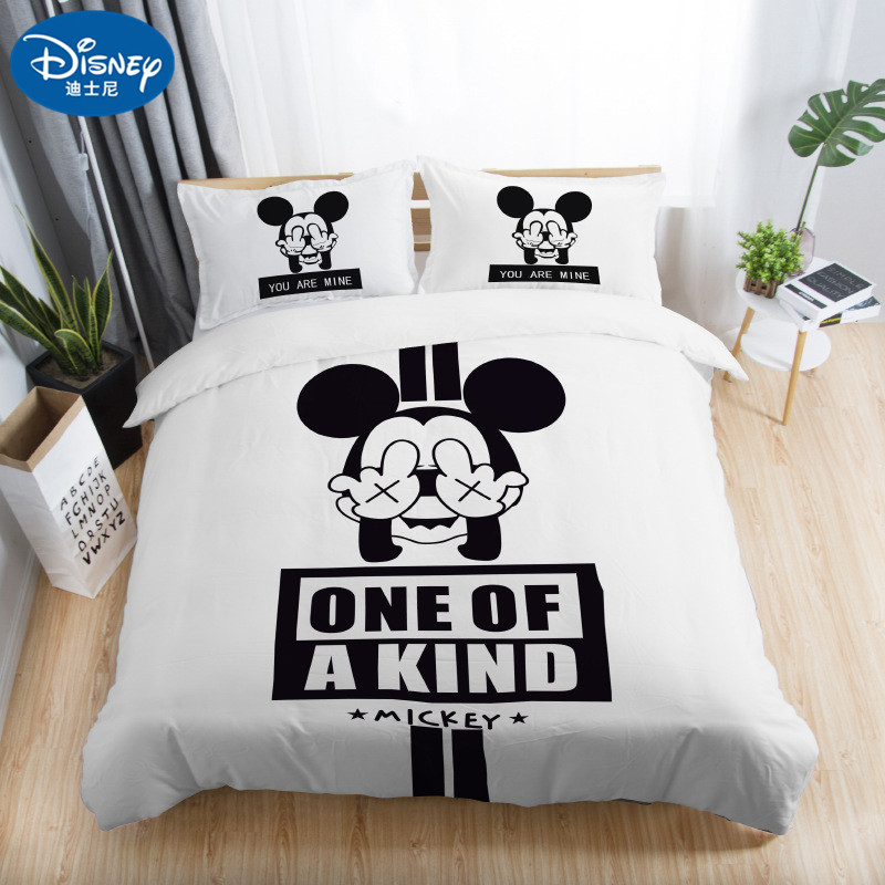 us 10 0 30 off 3pcs black white bedding set mickey mouse children cute duvet cover couple wedding quilt set adult double bedding sheets gift bedding