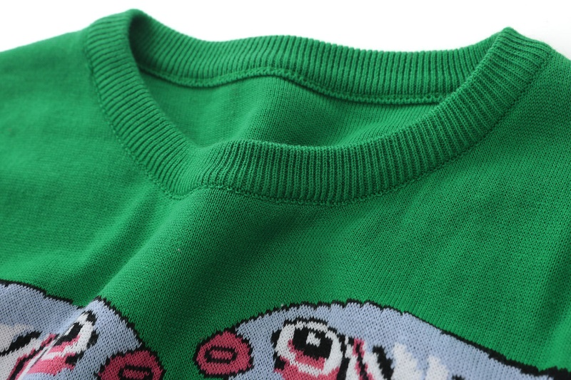 18 Autumn Winter Green Knitted Sweaters and Pullovers Women Runway Designer Double Fish Printed Female Ladies Jumper Clothes 5