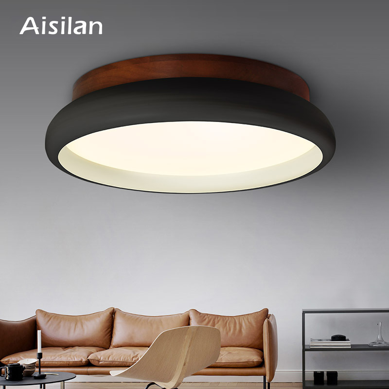 Aisilan LED Ceiling Light Nordic Style Lamp Living Room Lighting Fixture Bedroom Kitchen Foyer Wooden Surface