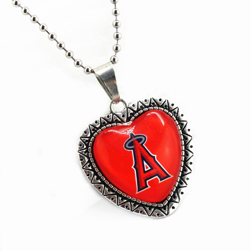 10pcs/lot Los Angeles Angels of Anaheim dangle charms glass pendant with 45cm chains baseball sports necklace jewelry