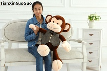 large 70cm cute brown monkey plush toy dressed coat monkey soft doll throw pillow birthday gift s0560