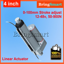 Wholesale 12V 100mm linear actuator 900N load 24v Tubular Motor Stroke adjusted control 4 inch mini electric Motor Free shipping
