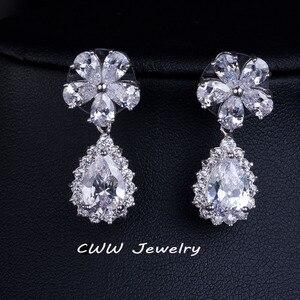 Image 2 - CWWZircons accessoires de mariée, couleur or blanc, zircone cubique scintillante, ensembles de bijoux pour demoiselle dhonneur, pour cadeau de mariage T120
