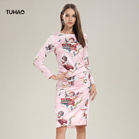 TUHAO 2019 Spring Alutumn Angel Flower Pleated Dress Women Slim Fit Bag Hip Hem Split Streetwear Queen Bodycon Dress TGA240