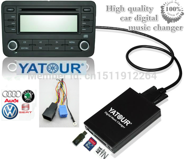 ФОТО Yatour Car MP3 player for VW Audi Skoda Seat Ford 8 Pin Digital music changer USB SD AUX Bluetooth audio Adapter