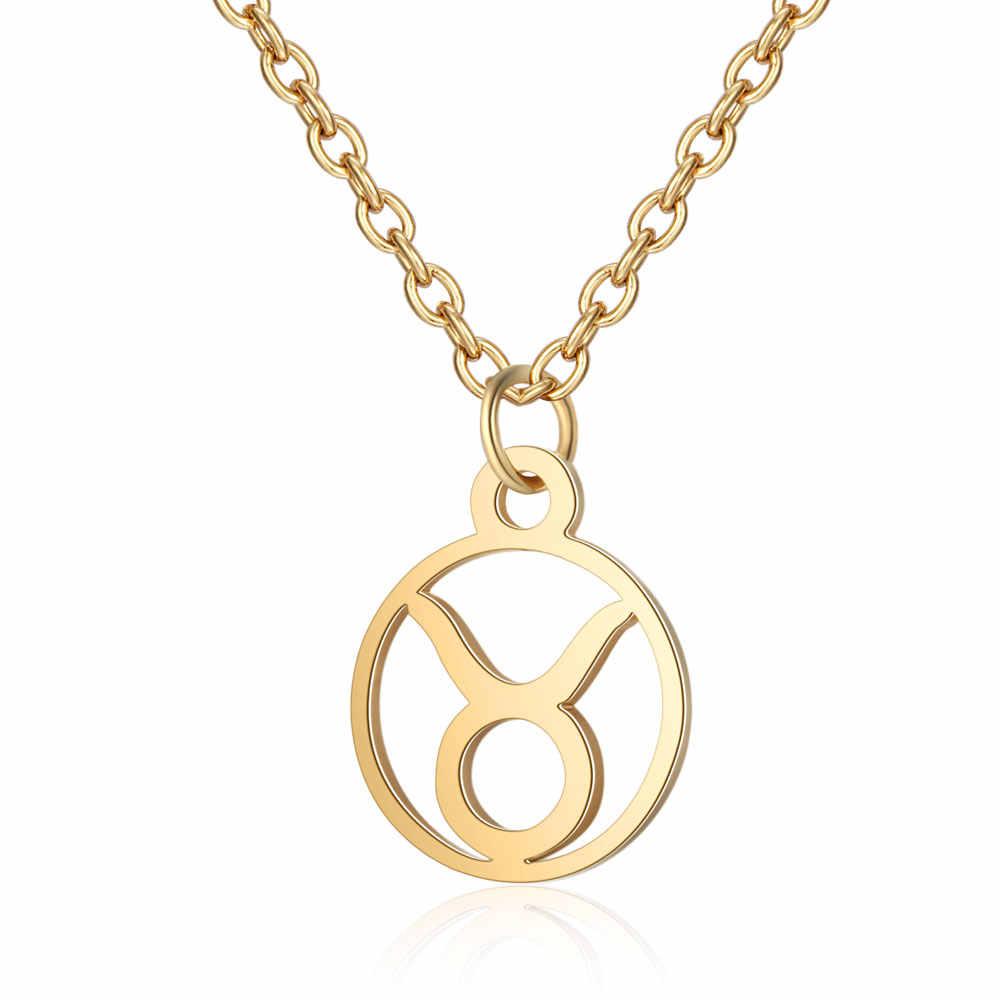 Cxwind 12 星座ペンダントネックレスステンレス鋼星座占星術ラウンドチョーカーネックレス女性のための星座ジュエリー