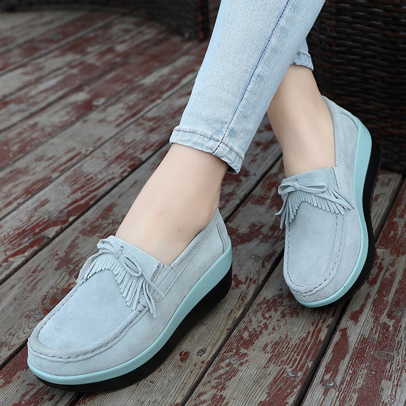 Hemmyi Women Casual Shoes 2018 New Arrival Fashion Waterproof Wedges Platform Sneakers Creepers Shoes Swing 6 Cm Platform Shoes