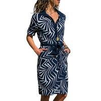 2019 летнее пляжное платье-рубашка с длинным рукавом, шифоновое платье бохо, женское повседневное Полосатое Платье с принтом, мини-платье для ...