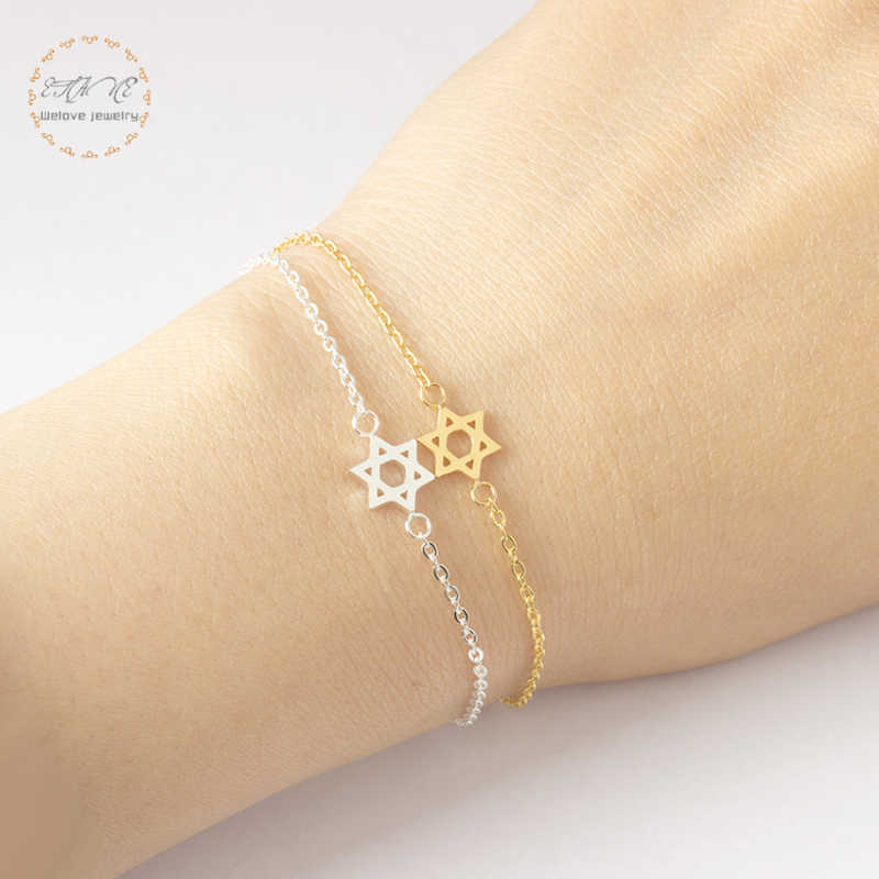 Jewish Jewelry Israel Charm David Star Bracelets For Women Gold Color Chain Stainless Steel Best Friend Gift