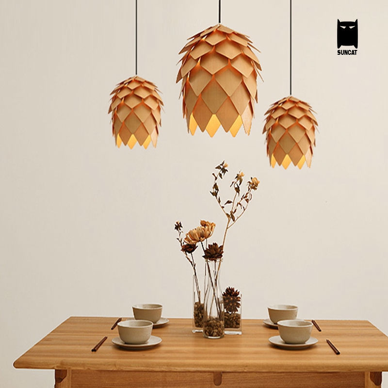 Wood Pinecone Pendant Light Fixture Modern Nordic Antichoke Hanging Lamp Lustre Avize Luminaria Dining Table Room Restaurant denmark antique pinecone ph artichoke oak wooden pineal modern creative handmade wood led hanging chandelier lamp lighting light