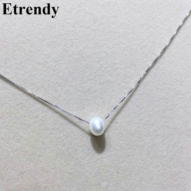 233dbb4b2800 Simple 925 collar de plata esterlina gargantilla de perlas naturales  mujeres elegante joyería fina lindos regalos
