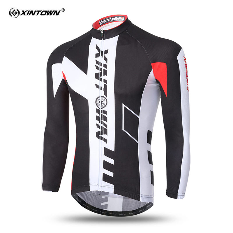XINTOWN New Black with W Mens Sports Breathable Long Sleeve Cycling Jersey Camo Cycling Jerseys Team Set MTB/Road Bike Wear