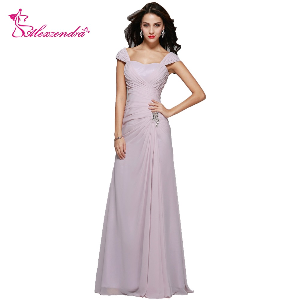Alexzendra Chiffon A Line Long Elegant Mother Of Bride Dress Sweetheart Neck Cap Sleeves Long Evening Gowns