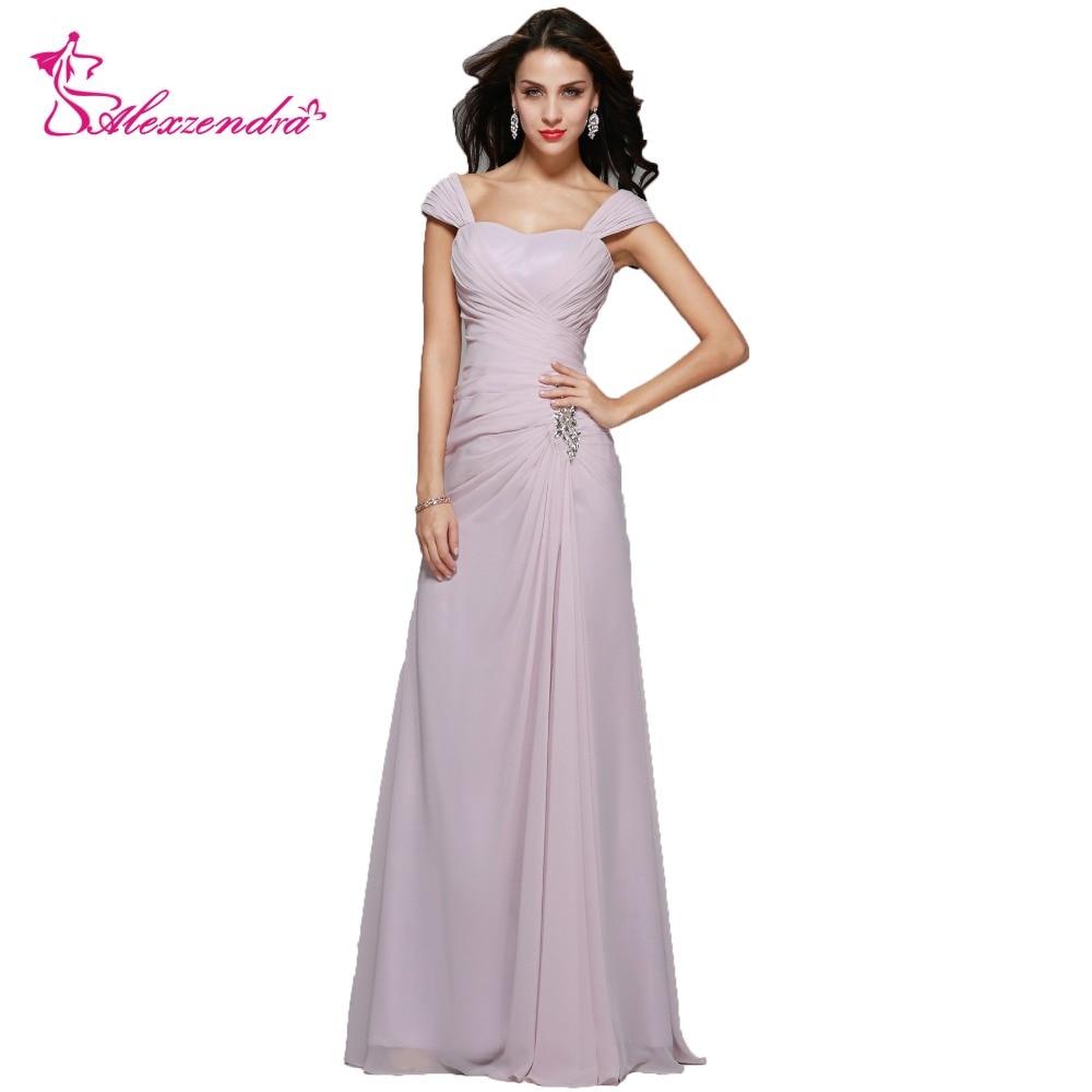 Alexzendra Chiffon A Line Long Elegant Mother Of Bride Dress Sweetheart Neck Cap Sleeves Long Evening Gowns