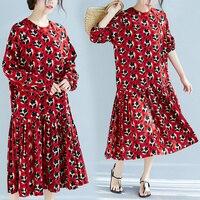 BIG SIZE Spring Summer Women Fashion Elegant Flower Dots Tops Ladies Female Plus Large Long Sleeve Chiffon Casual Pleat Dress