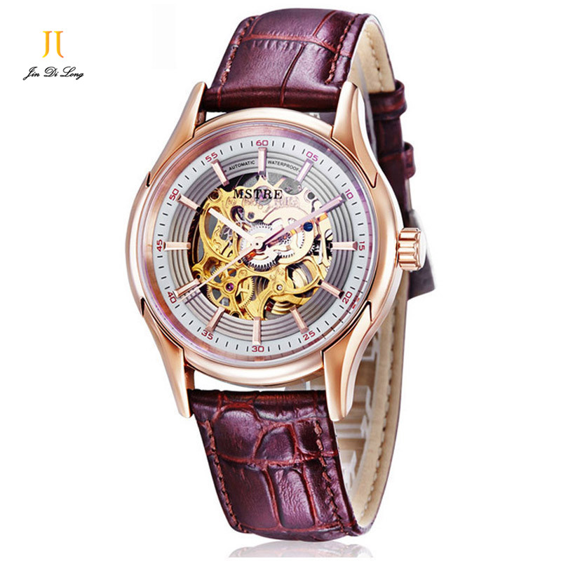 2*#Fashion Skeleton Casual Watch Mens Business Automatic Gold Selfwind Tourbillon Wrist Watches Leather Strap Sapphire Man2*#Fashion Skeleton Casual Watch Mens Business Automatic Gold Selfwind Tourbillon Wrist Watches Leather Strap Sapphire Man