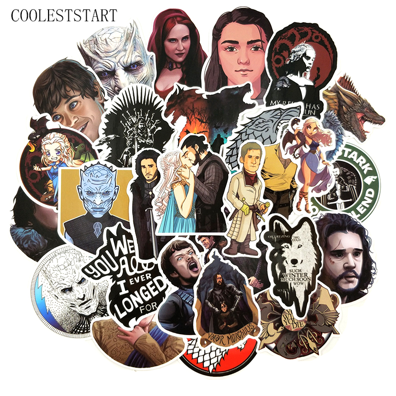 60Pcs/pack Game Of Thrones American Classic Fantasy Film Stickers For Fashion Laptop Motorcycle Skateboard War TV Series Sticker image
