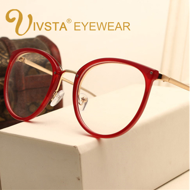 IVSTA Vintage Prescription Optical Eyeglasses Frame Myopia Round Metal Women Spectacles Sunglasses Cat Eye eyewear Pink lenses