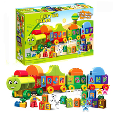 New 75pcs Letters Train Compatible With Duplos Train City Building Blocks Bricks Toy 188-23 lepin new city 02118 the cargo rc train set compatible 60198 remote control power train with rails building blocks bricks toys