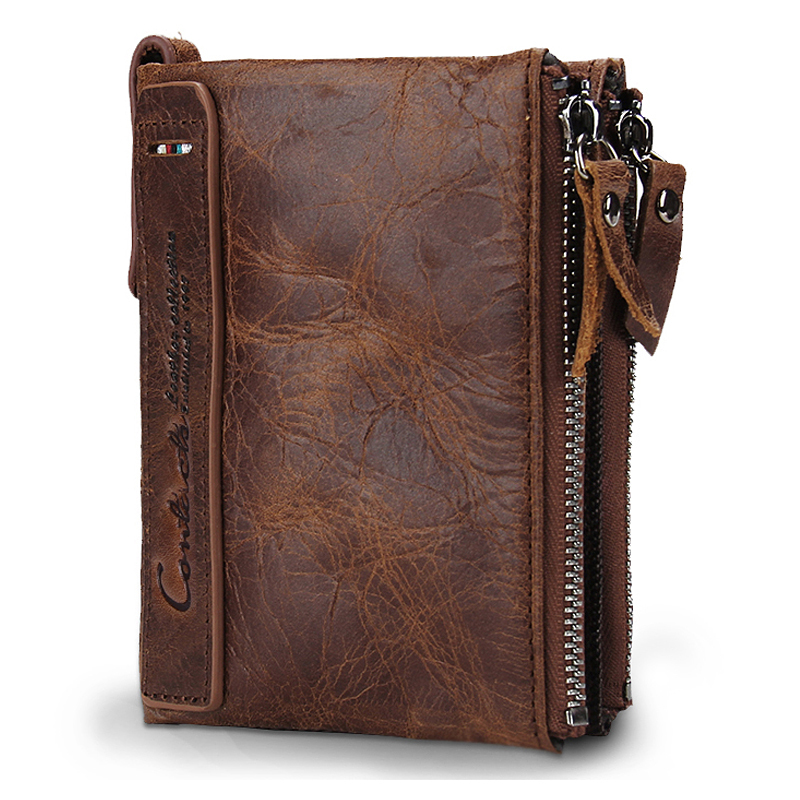 Hot Sale Genuine Cowhide Leather Men Wallets Short Style Coin Pocket Purse High Quality Vintage Design Zipper Card Holder Wallet