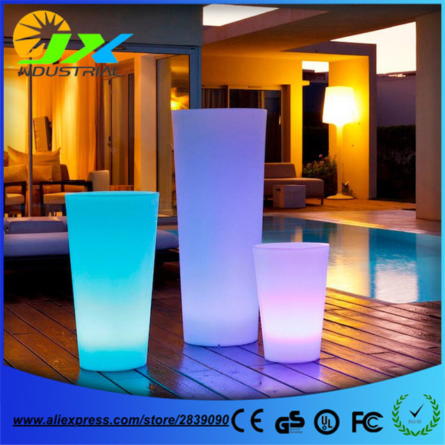 Free Ship Outdoor Colorful Height Glow Led Flower Tub Plant Pot Light Wireless Remote Illuminated