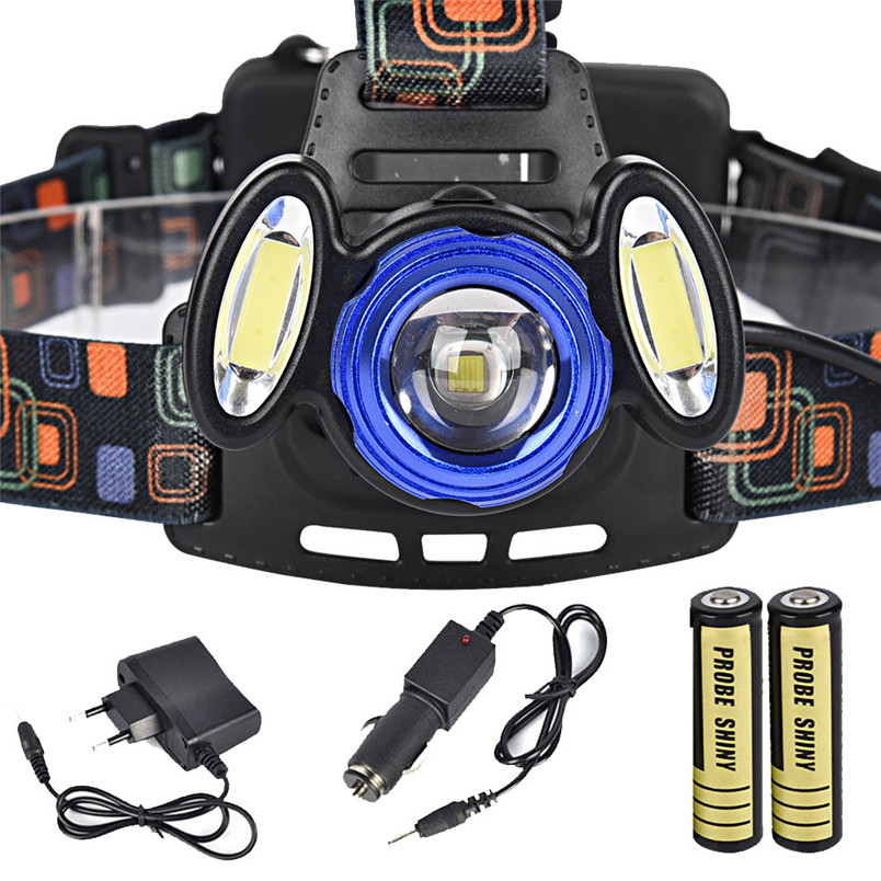 2017 Super <font><b>Bright</b></font> 15000LM 3x XML T6 Rechargeable Headlamp HeadLight Torch USB Lamp+18650+Charger Zoomable Free Shipping NM01