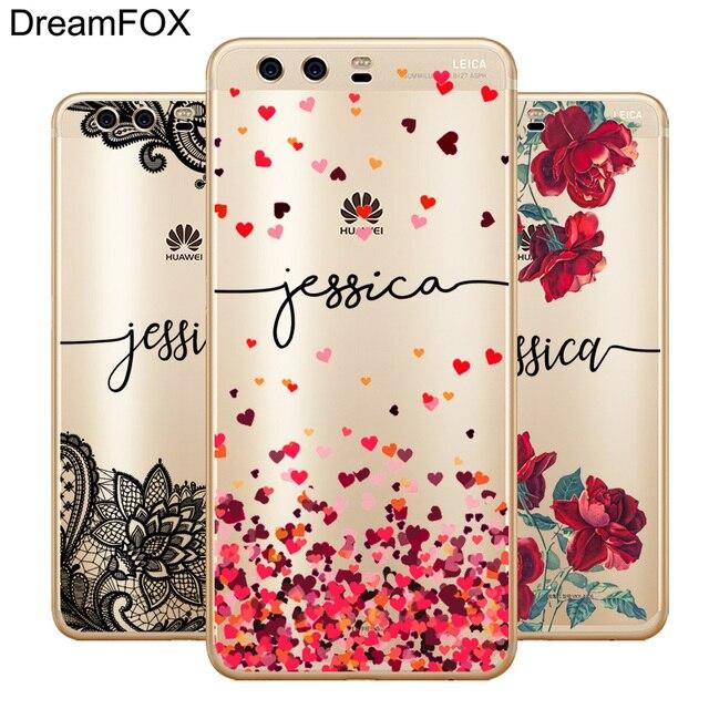 DREAMFOX DIY Tên Tùy Chỉnh In Trường Hợp Bìa Cho Huawei P9 P10 P20 Người Bạn Đời 10 20 X Pro Lite 2017 Cá Nhân mềm Silicone TPU