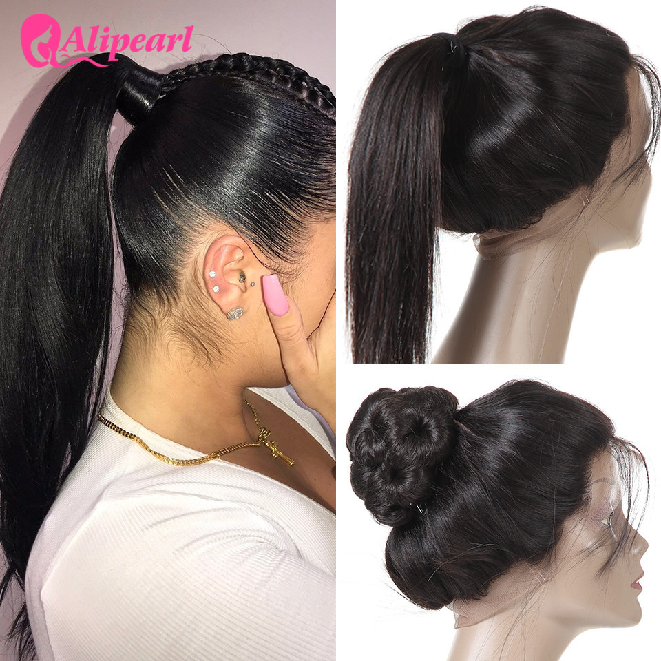AliPearl hair Pre Plucked 360 Lace Frontal Closure With Baby Hair Brazilian Straight Natural Hairline Remy Hair Frontal(China)