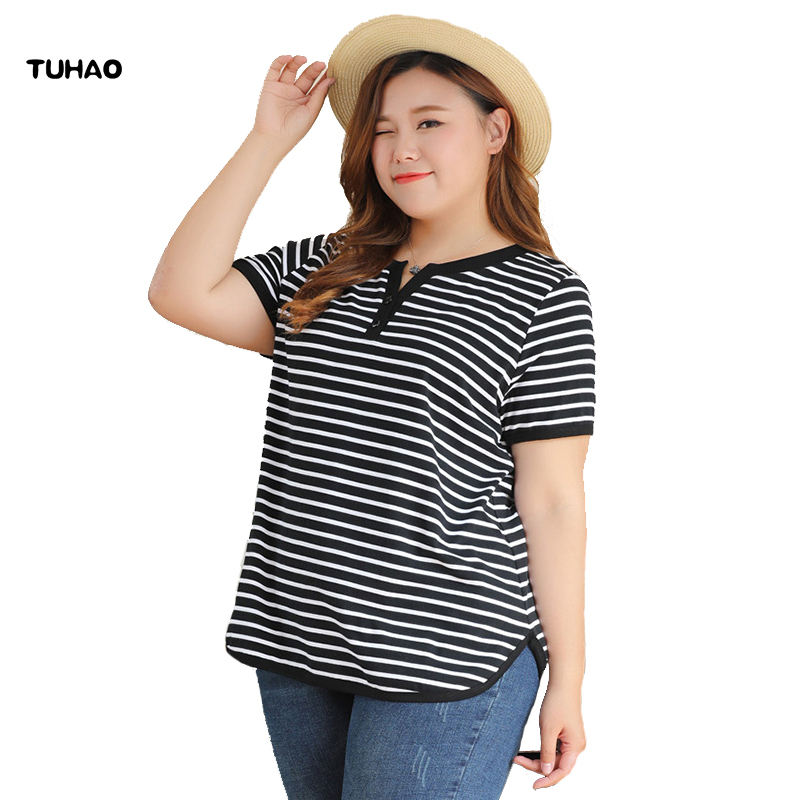 TUHAO Women Striped Office Lady T Shirt 2018 Summer Female Top Tee T Shirt Plus Size 10XL 8XL 6XL 4xl T shirts for Woman MS75