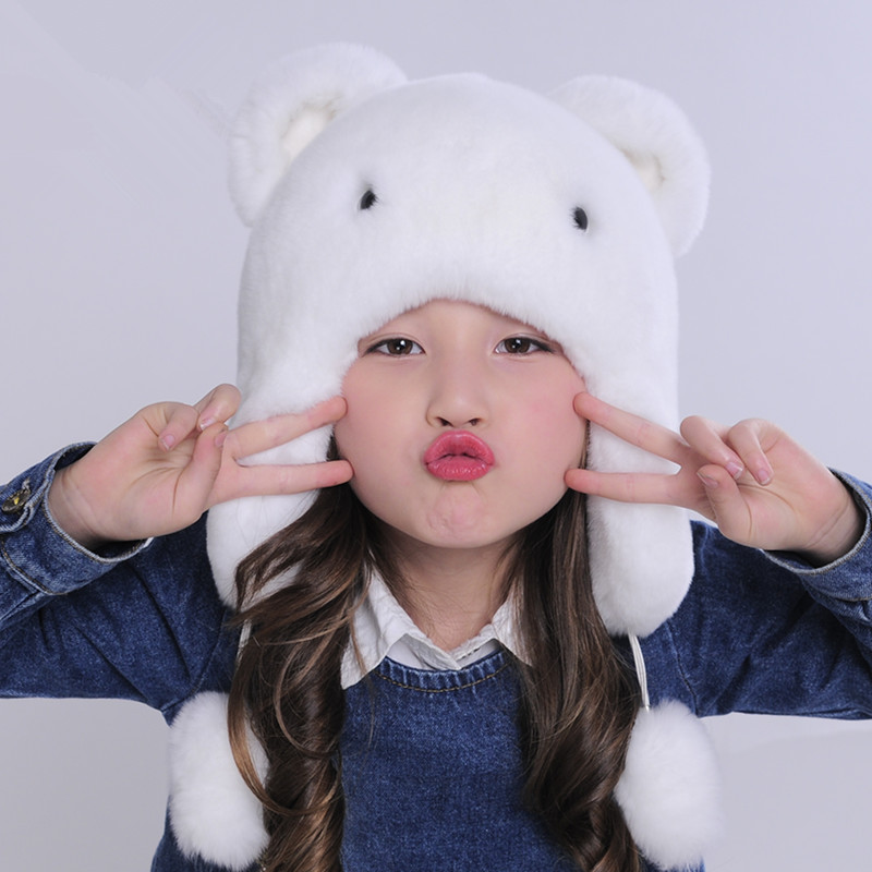 2016 winter new children's fur hat outdoor warm cute Rex rabbit hair hat Russian ear warm hat princess hat skullies new winter warm hat wool leather hat rabbit hair hat fashion cap fpc018