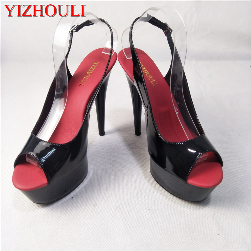 4c7f5eed0d5f 15cm Sexy High-Heeled Shoes Formal Dress Shoes Open Toe Sandals Sling Peep- Toe Platform Sandals With Stiletto Heel