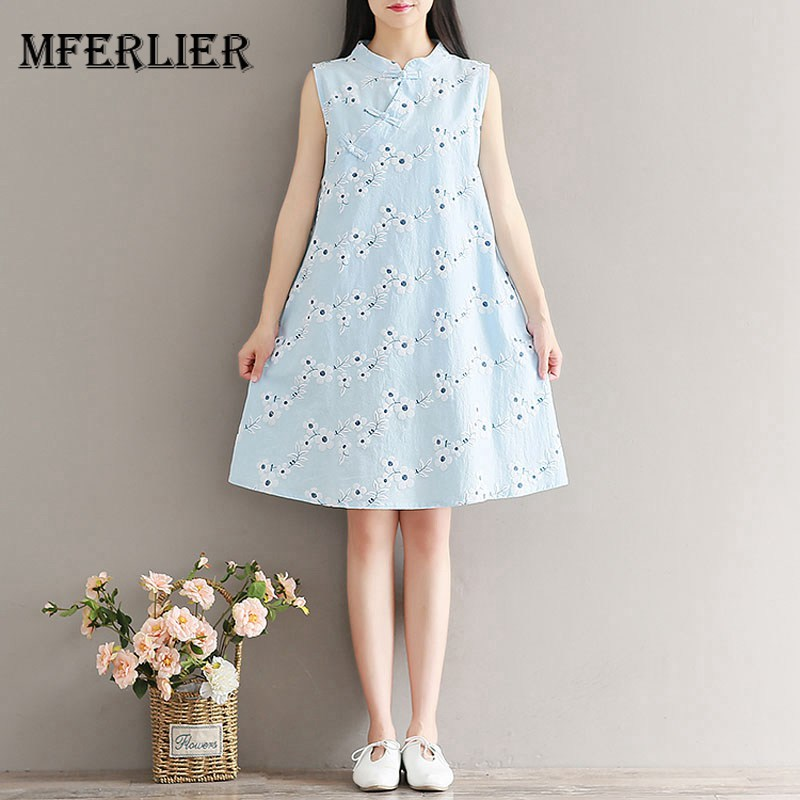 11d0ae08e5c Mferlier Mori Girl Summer Retro Dress Stand Collar Plate Buckle Sleeveless  Flower Embrodiery Artsy Casual Dress-in Dresses from Women s Clothing on ...