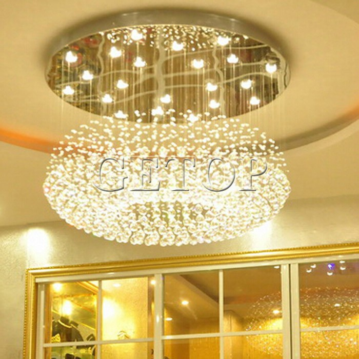Best price modern crystal ceiling light lamp round hanging crystal lights hotel lobby crystal lamp engineering lamps in ceiling lights from lights