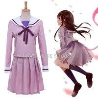 Anime Noragami Hiyori Iki Purple Sailor School Uniform Cosplay Uniform Dress