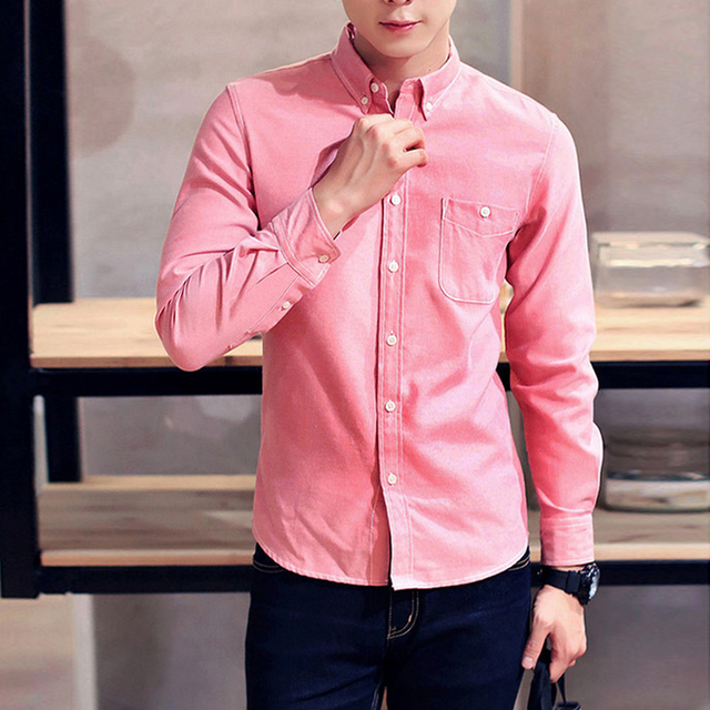 3b487396fa6 2018 Casual Men Shirt Long Sleeve Cotton Oxford Shirt Mens Business Shirts  Male Pink Blue Black men clothes Camisa Masculina