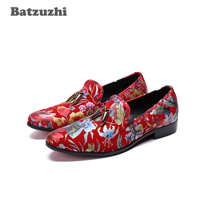 Batzuzhi Super Star Men Shoes Leather Casual Loafer Shoes with Metal Tassels Flowers Print Leather Red Wedding Party Men Shoes stylish tiny flowers print wedding casual party white tie for men