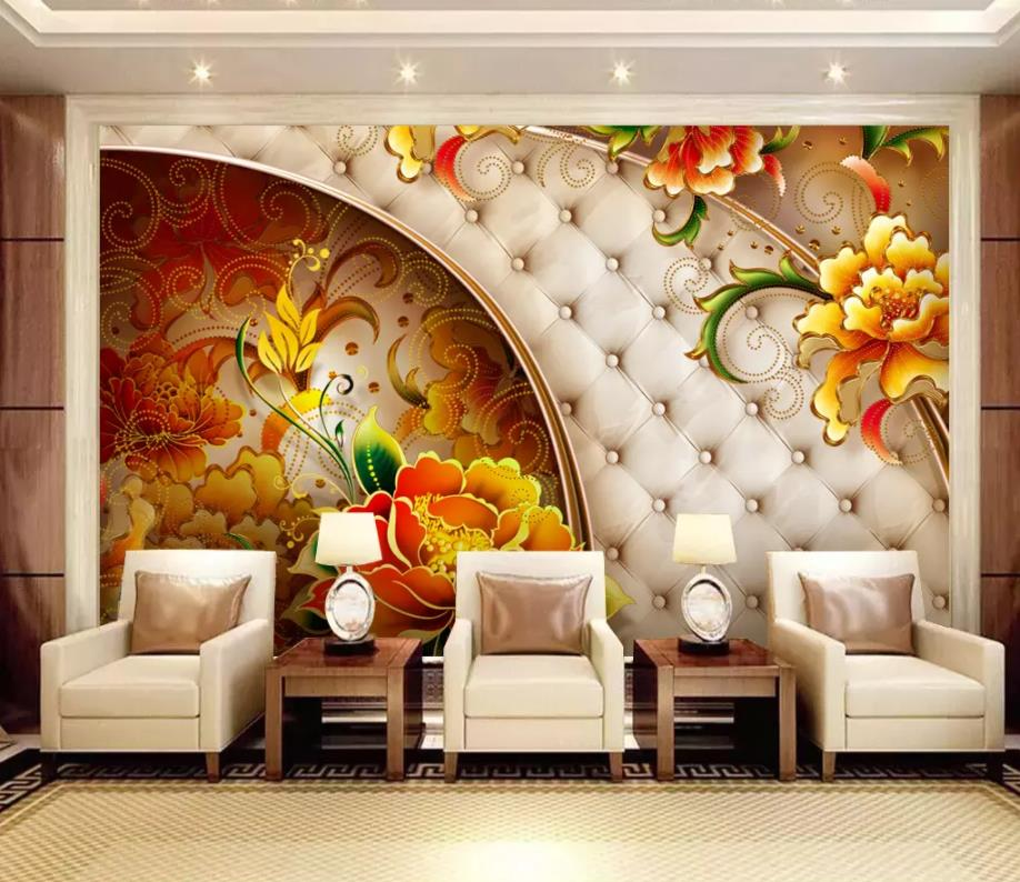 Customize 5d Wallpaper Walls Flower 3d Wallpaper Living Room Bedroom 3d Background Photo Wall Mural Buy At The Price Of 14 27 In Aliexpress Com Imall Com