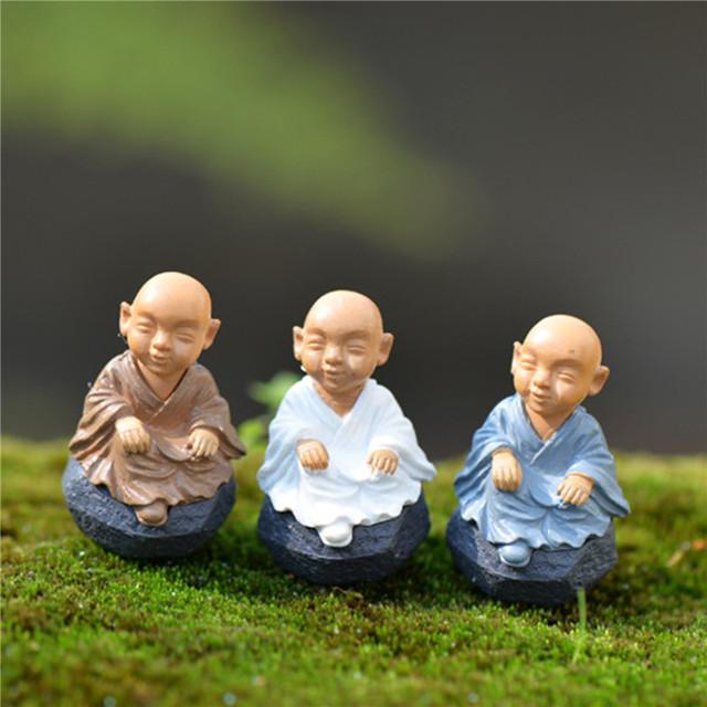 4pcs Kawaii Chinese Buddhist Monks Miniature Bonsai Garden Home Decoration