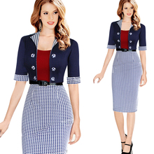 Women's Faux Jacket One-Piece Belted Tartan Sheath Dress Vestidos Contrast Pinup Patchwork Wear Work Pencil Bodycon Dress