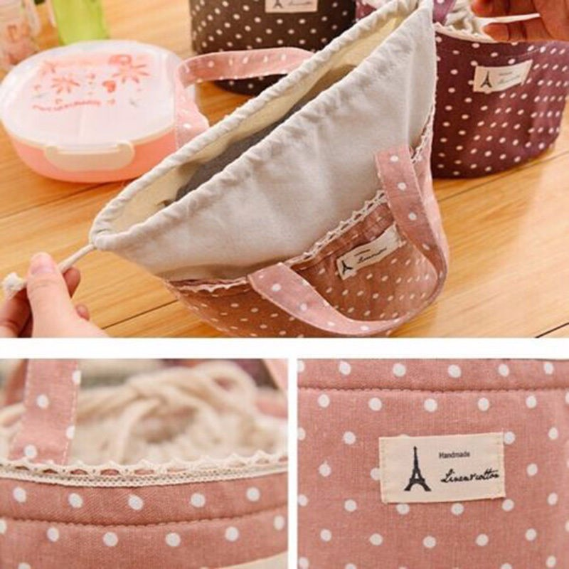 1pc Insulated Tinfoil Aluminum Cooler Picnic Lunch Box Bag Small Dot Thermal Dinner Travel Purse Zipper Waterproof Snack Food Storage Lunch Bag (5)
