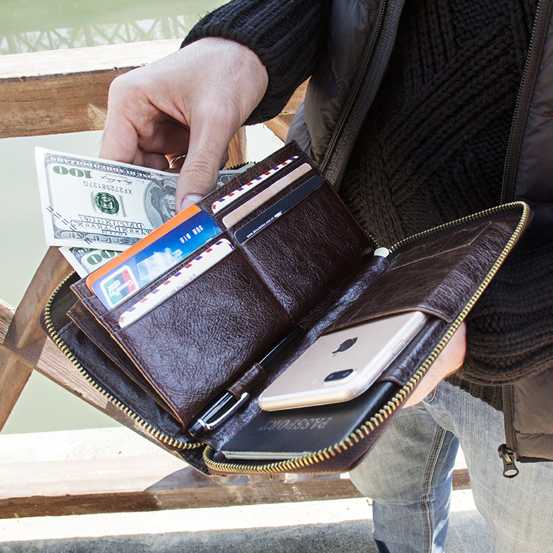 Contact's Cow Leather Men Casual Clutch Wallet Card Holder Zipper Purse With Passport Holder Phone Case For Male Long Wallet 1