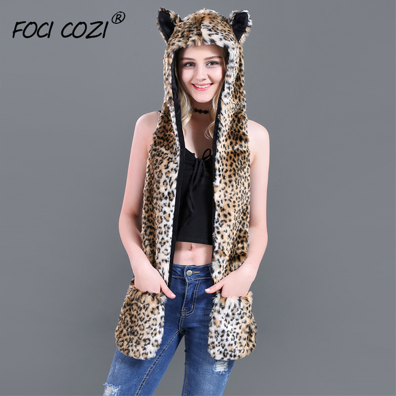 2019 trending winter accessories mittens hat and scarf for women Leopard Faux Fur Hood Animal Hat Ear Flaps Hand Pockets 3 in1