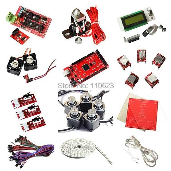 Kits complets de démarrage d'imprimante 3D Ramps1.4, LCD2004, heatbed MK2a, moteur pas à pas Nema17, pilote A4988, plaque d'aluminium
