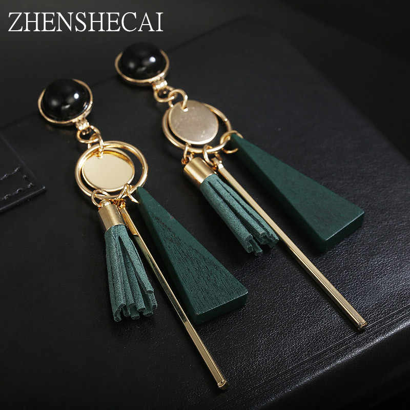 New Design black green Colors Drop Earrings Bohemia style Plastic long Tassel Earrings for Women ear jewelry accessories