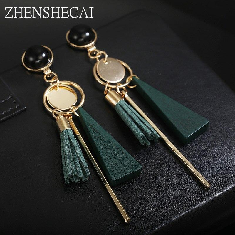 Женские серьги-подвески в богемном стиле, черные, зеленые длинные серьги с кисточками, ювелирные изделия, аксессуары, новый дизайн