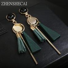 88eb613ef74d7 جديد تصميم أسود الألوان الخضراء انخفاض الأقراط بوهيميا نمط البلاستيك طويلة شرابة  الأقراط للنساء الأذن مجوهرات اكسسوارات