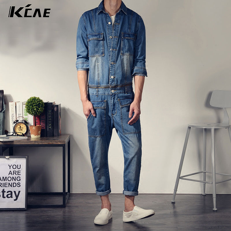 c60cdea77 ... 80s Denim Jumpsuit Worn In Distressed Blue Jean Coveralls: Popular Mens  Bib Pants-Buy