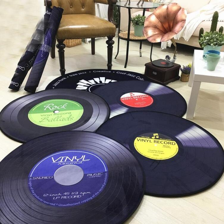 Rétro CD tapis tapis Antique canapé chaise coussin côté tapis antidérapant court velours tapis vinyle Records modèle porte décor tapis 05518
