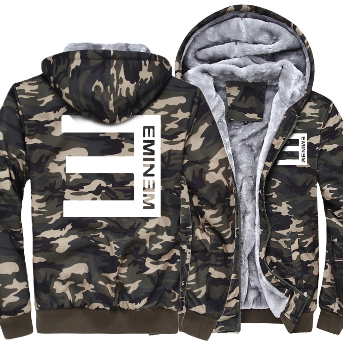 New Arrival Fashion Casual Camouflage Thick Hoodies Print Rapper E Men 2019 Winter Hipster Streetwear Hip Hop Style hoodie Kpop