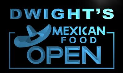 x0258-tm Dwights Mexican Food Open Custom Personalized Name Neon Sign Wholesale Dropshipping On/Off Switch 7 Colors DHL
